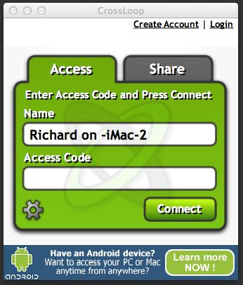 CrossLoop Access Tab