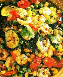 Prawn and vegetables in Balti