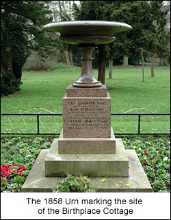 The urn marks the site of the cottage, later part of the land bought by steel magnate Henry Bolckow, business partner of John Vaughan, and later mayor of Middlesbrough - two miles or so north of here