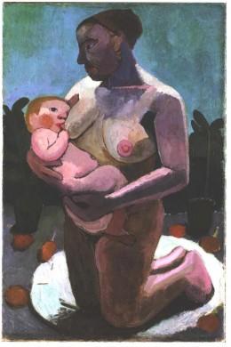 Kneeling breast feeding mother by Paula Modersohn-Becker