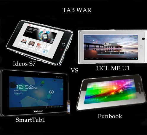 HCL ME U1 vs Micromax Funbook vs Karbonn SmartTab1 vs Huawei Ideos S7 – The Tab War