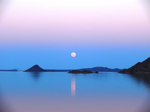 Moon rising over Gariep Dam, South Africa