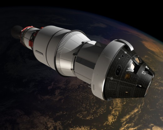 Artist's conception of the Orion Multipurpose Crew Vehicle on its maiden voyage