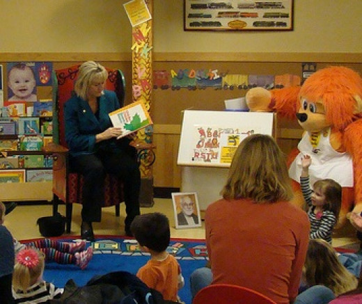 Your local library has story time for parents and preschoolers together.