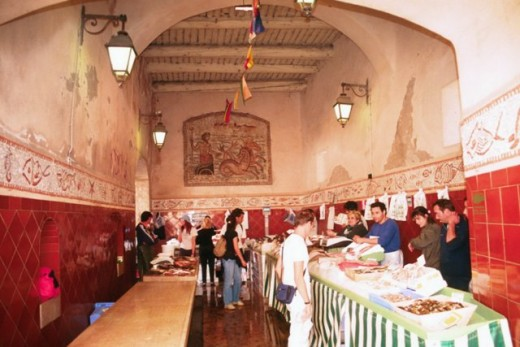 St. Tropez fish market is in an archway from the port