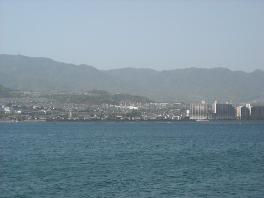 View of Hiroshima City from a ferry.