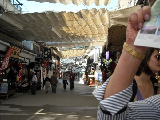 Shopping district in Miyajima.
