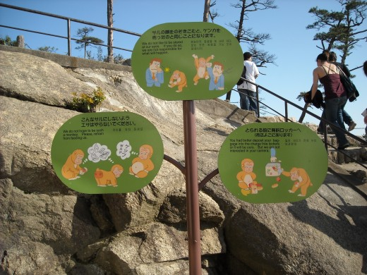 Sign on Mt. Misen warning of monkeys.