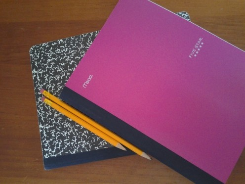 Note pad and journal with pencils
