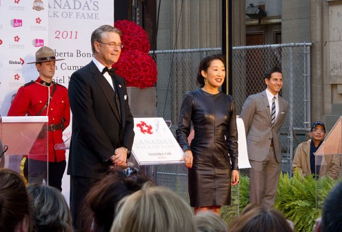 Sandra Oh accepting her Star on the Canada Walk of Fame.