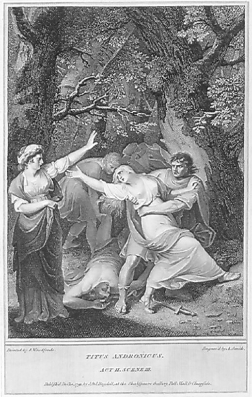 Illustration of Act II, Scene III: The Rape of Lavinia