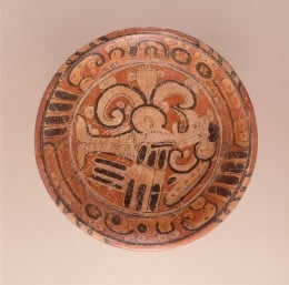 English: Mexico, Northern Campeche, Maya Tripod Plate with Mythological Bird, A.D. 550-700 Ceramic, Slip-painted ceramic, Diameter: 14 in. (35.6 cm) Gift of the Art Museum Council in honor of the museum's twenty-fifth anniversary (M.90.168.13) Latin