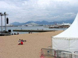 The Estrel Massif provides a backdrop for private yachts in the Bay of Cannes