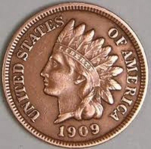 This is a picture of the Indian Head penny. 1909 was the final year that the Indian Head penny was produced. Wheat pennies replaced them in the same year.