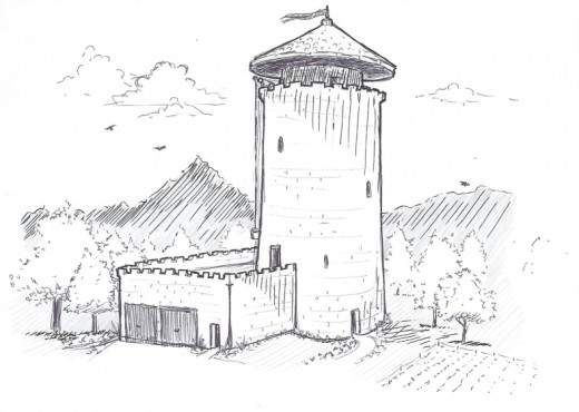 modern stone castle tower drawing