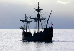A galleon on the ocean.