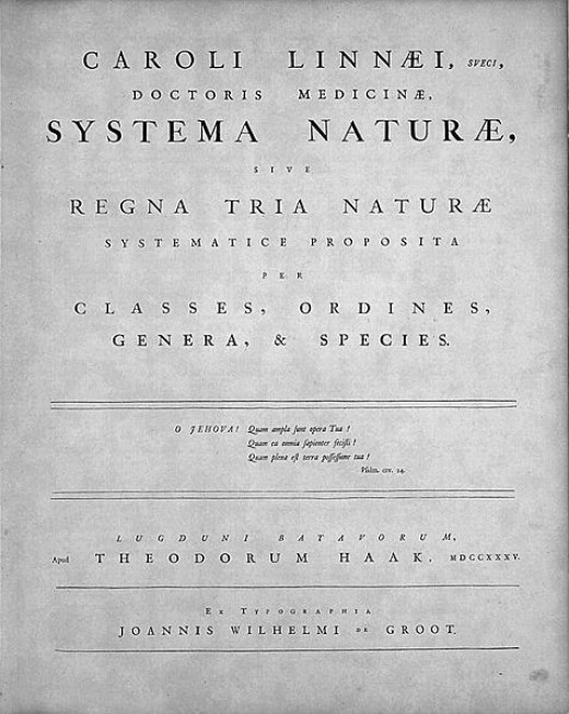 Systema Naturae, Leiden, 1735