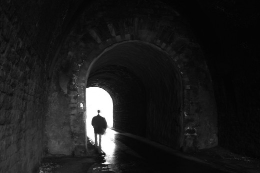 A common element of the near-death experience (NDE) is moving through a tunnel toward a light.