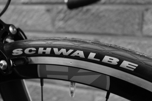 Schwalbe Durano bicycle tire fitted to FSA Vision Trimax Road Wheelset