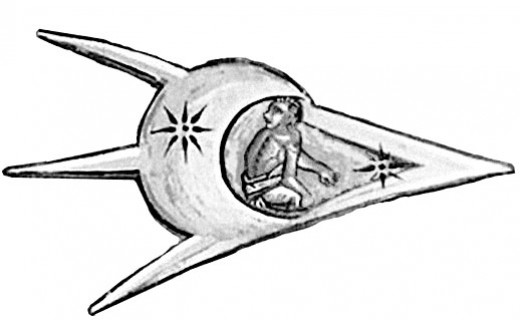 Medieval drawing of spaceship with alien pilot
