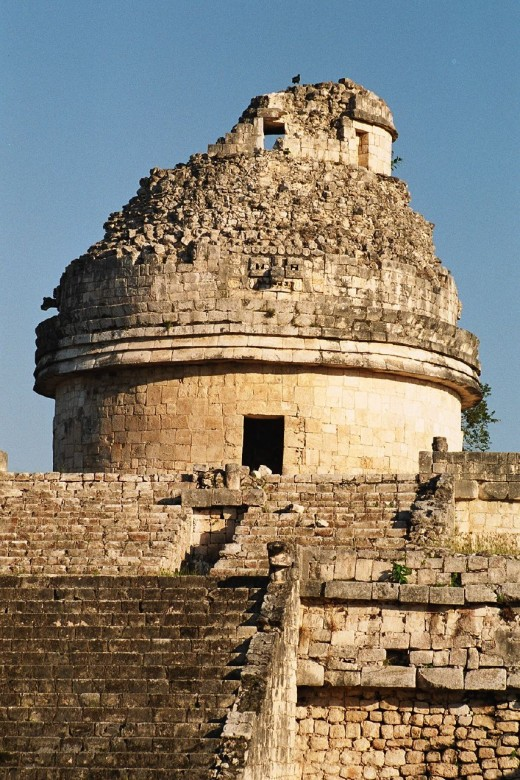 Mayan astronomers used observatories such as this one, located in the ancient city of Chichén Itzá. Windows at the top level, now partially destroyed, were strategically placed to observe the positions of sunrise and sunset and the motions of the Moo