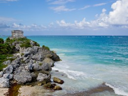 The Temple of the Gods of the Wind stands over the beach in the Mayan walled city of Tulum.