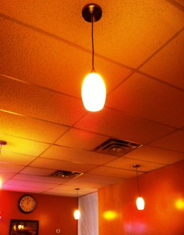 the ceiling and light fixtures