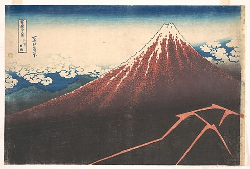 Storm below Mount Fuji (Sanka no haku u), from the series Thirty-six Views of Mount Fuji (Fugaku sanjûrokkei)