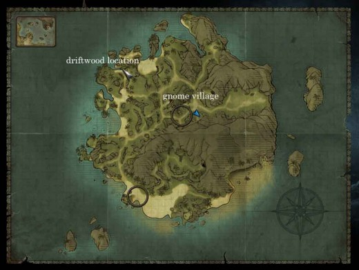 Risen 2 Marooned Quest - Location of driftwood and gnome village (where the vines are)