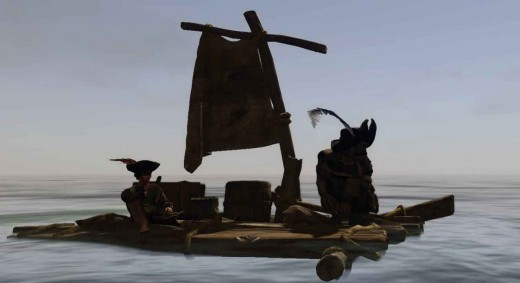 Risen 2 No Longer Marooned - the nameless pirate and his mate the gnome Jaffar on the envisioned product (the luxury raft)