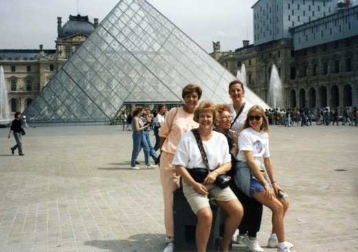 Entrance to the Louvre museum - the glass pyramid by architect I.M. Pei