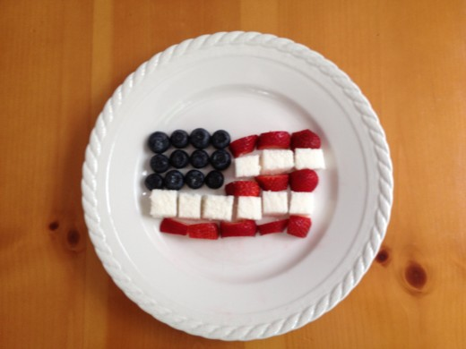 Kids will love to arrange the fruit and cake into our stars and stripes