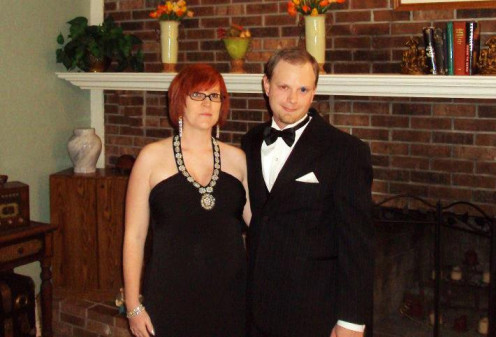 Me and my hubby dressed up for our black tie event