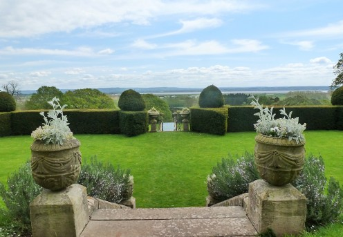 Lydney Park Estate garden overlooking the River Severn Estuary