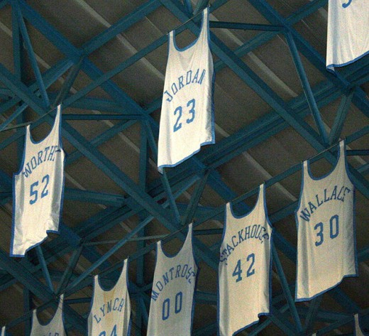 Jordan's jersey hanging from the rafters in North Carolina