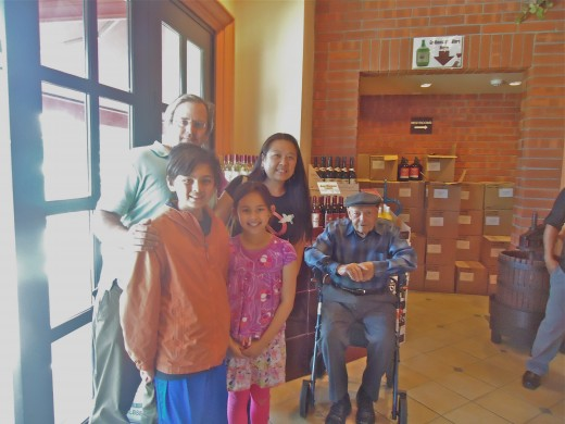 The family with founder Stefano Riboli taken at the Wine Store