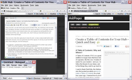 Your hub, in edit mode, on the left. Your hub, in view mode, on the right. Notepad open on the lower left
