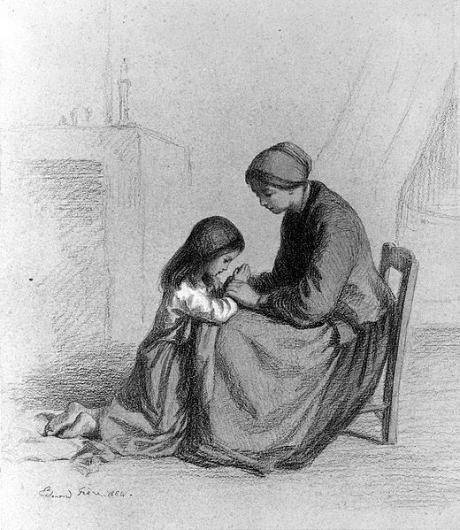 Child praying at mother's knee