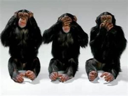 Hear no evil, speak no evil, see no evil...write no evil? Nope! That one's allowed!