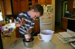 Add the can of soup and 1/3 cup water to a small bowl. Mix and set aside.
