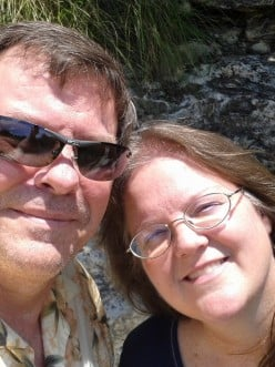 The author and her husband at the Japanese Tea Gardens in San Antonio, Texas.
