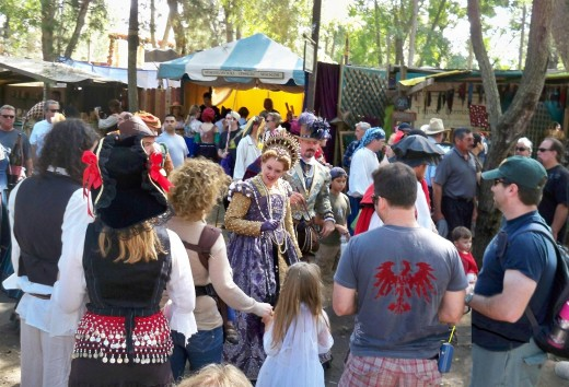 Queen Elizabeth interacting with visitors at the Renaissance Faire.