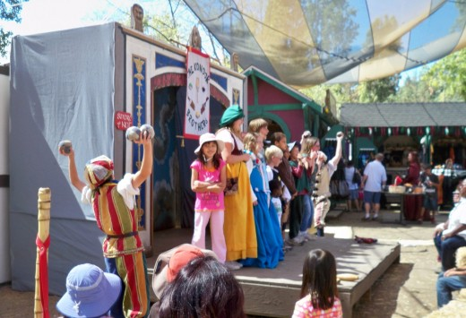 Kids were invited to joy a play at a Renaissance Faire