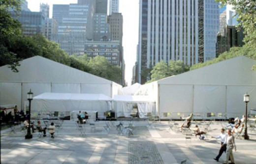 Mercedes-Benz Fashion Week tents in Bryant Park