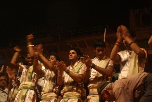 Indian men singing devotional songs