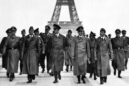 Hitler and his henchmen at the Eiffel Tower