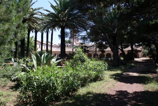 Monastery through trees