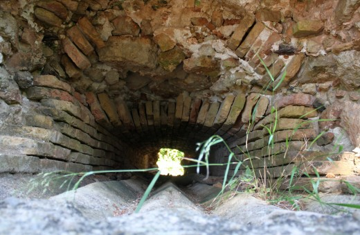Troughs inside one of the cannonball ovens