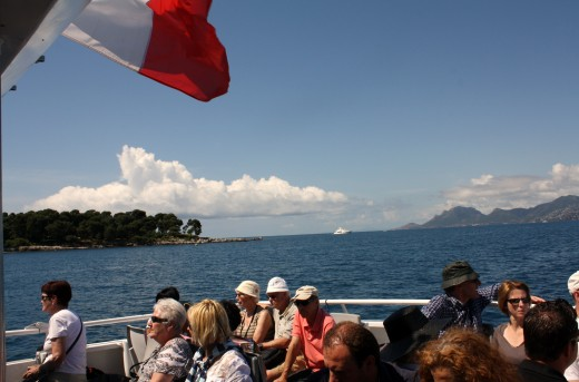 Passengers head for St. Honorat on one of the ferries that travels to and from the islands throughout the day.