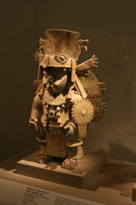 Terra cotta image of Mayan Rain God Chaac at San Francisco's de Young museum,